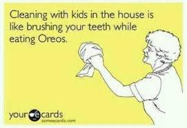 cleaning house with kids