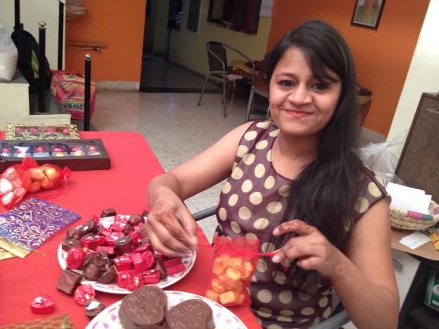Priya with her creations