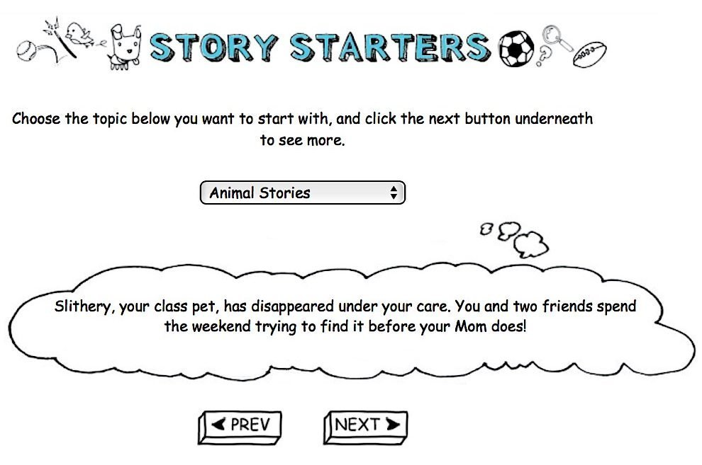 "Scribblitt's ""Story Starters"" feature."