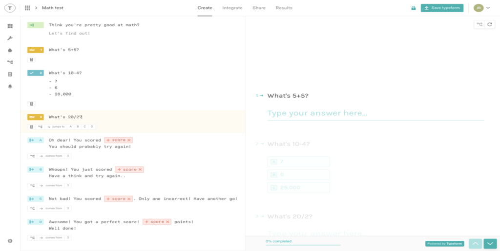 Typeform Online Test maker tool
